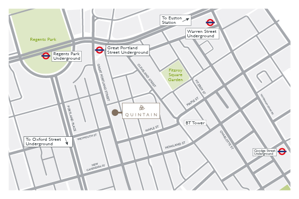 Quintain office location map illustrated by Brocklebank Creative Services