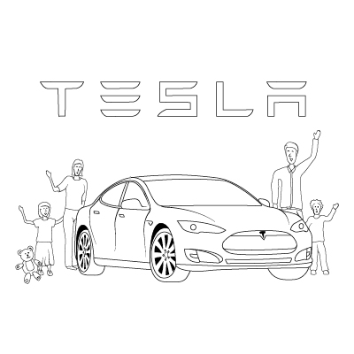 Tesla Model S colouring book front cover illustration by Brocklebank Creative Services