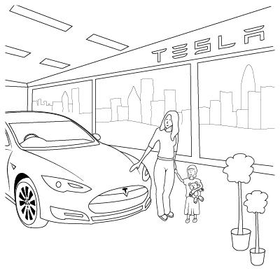 Tesla Model S colouring book showroom illustration by Brocklebank Creative Services