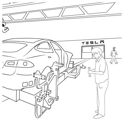 Tesla Model S colouring book workshop illustration by Brocklebank Creative Services