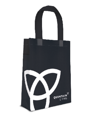 Quintain Living tote bag visual designed by Brocklebank Creative Services