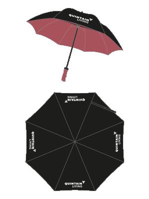 Quintain Living umbrella visual designed by Brocklebank Creative Services